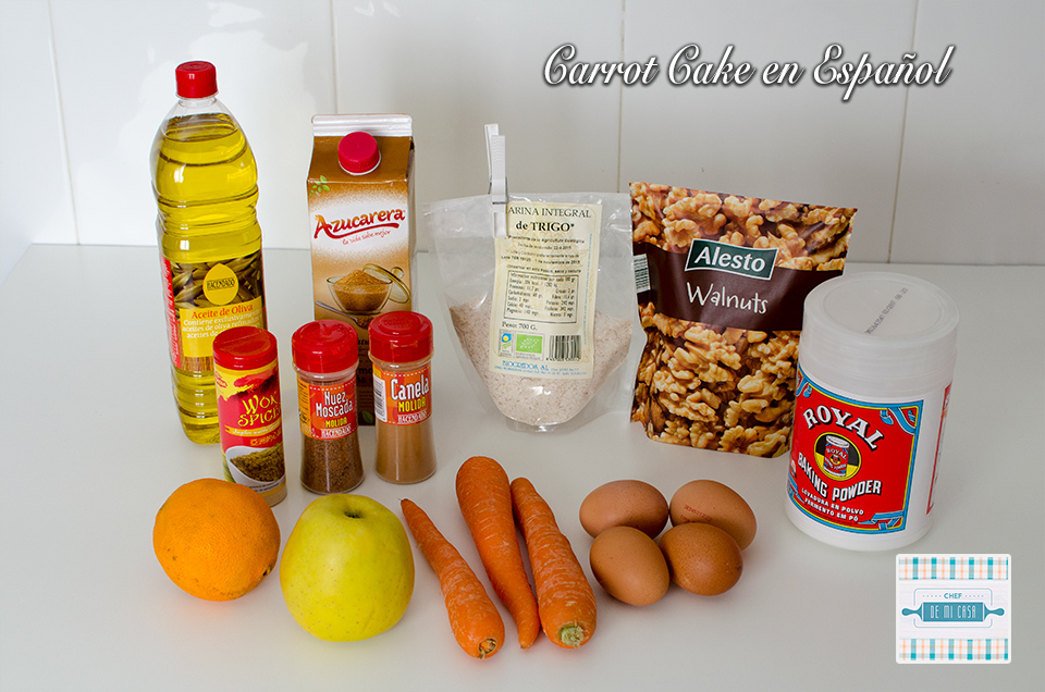 Ingredientes para Carrot Cake