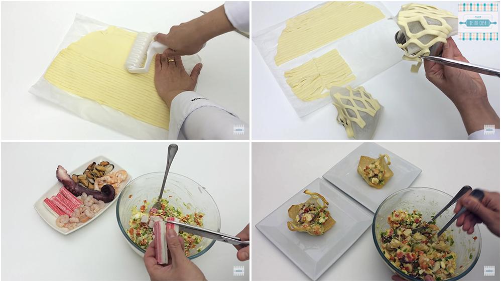 Tartaleta de salpicón de Mariscos