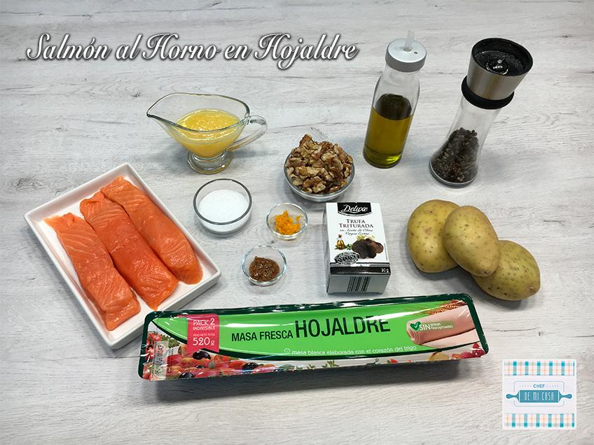 Ingredientes Salmón al Horno en Hojaldre